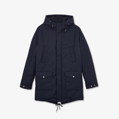 Long hooded navy blue Terence parka