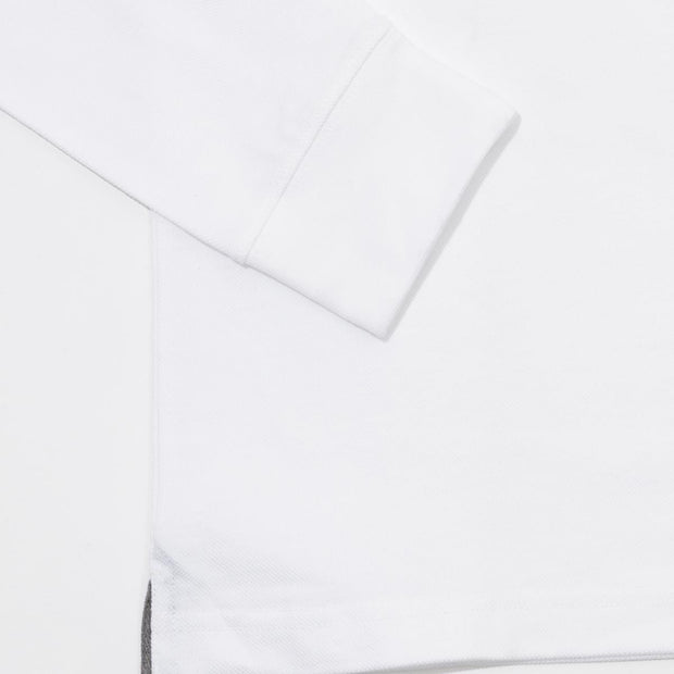 Plain stretch long sleeves white polo