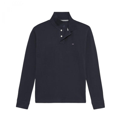 Plain stretch long sleeves navy blue polo