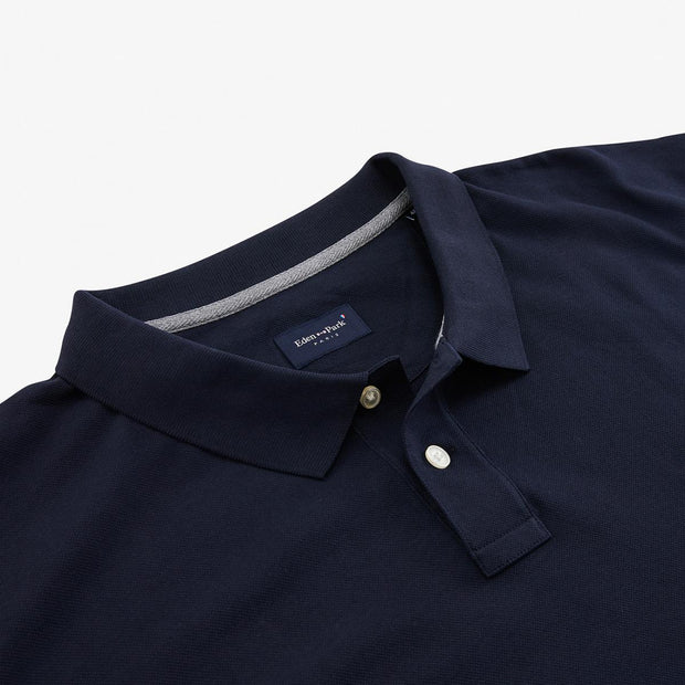 Regular fit unicolour navy blue cotton piqué polo