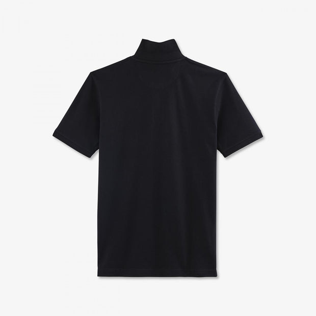 Regular fit unicolour black cotton piqué polo
