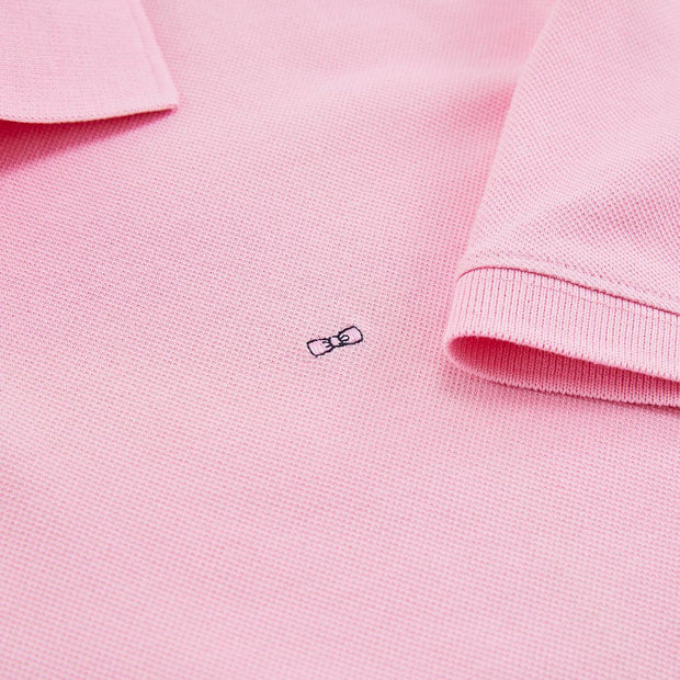 Regular fit unicolour pink cotton piqué polo