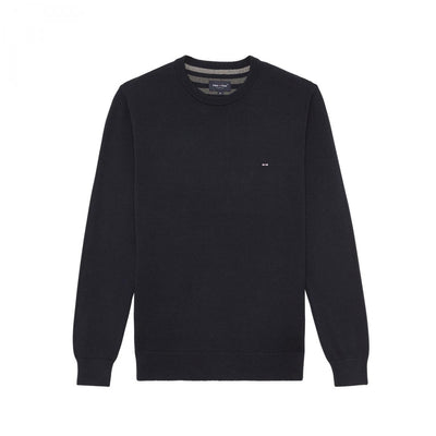 Navy cotton knit sweatshirt with round collar