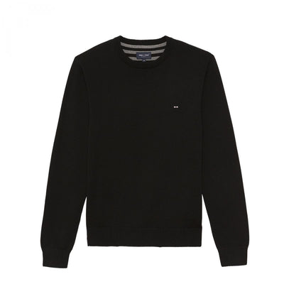 Black cotton knit sweatshirt with round collar