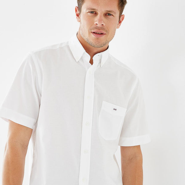 Regular fit short-sleeved tolosa cotton white shirt