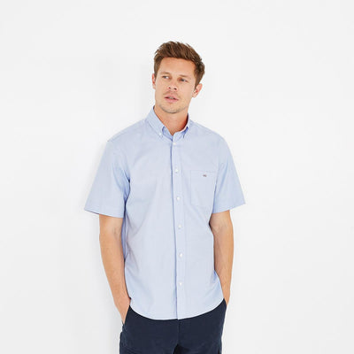 Regular fit short-sleeved tolosa cotton blue shirt