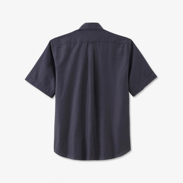 Regular fit short-sleeved tolosa cotton dark grey shirt