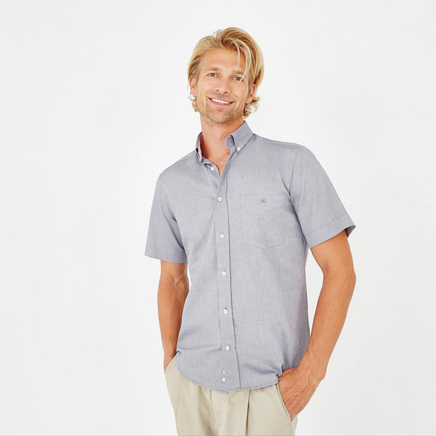 Regular fit short-sleeved tolosa cotton grey shirt