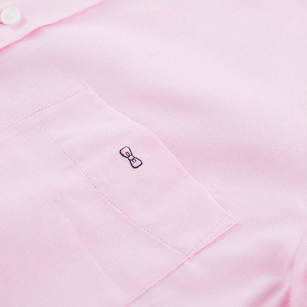 Regular fit short-sleeved tolosa cotton pink shirt