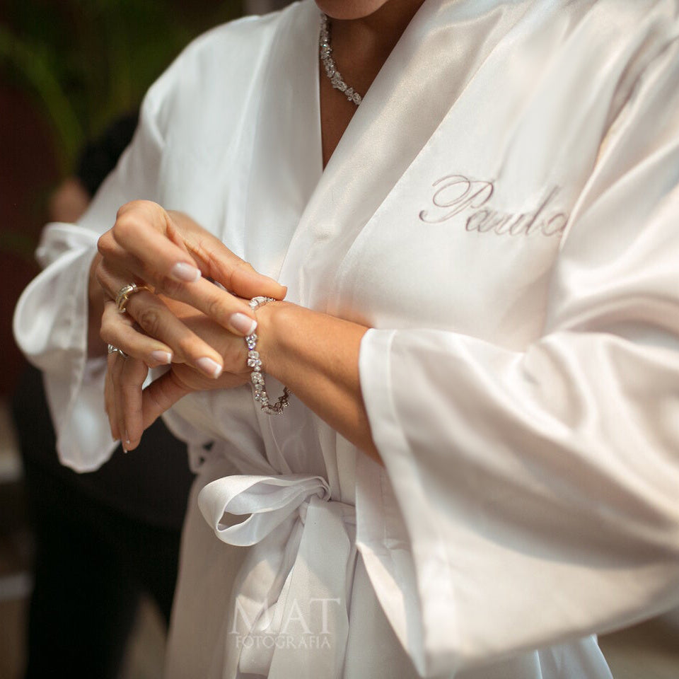 Load image into Gallery viewer, Personalized Mrs. Satin Bridal Robe with Name on Front