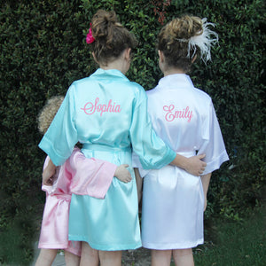 Load image into Gallery viewer, Personalized Satin Girls Robe with Name on Back