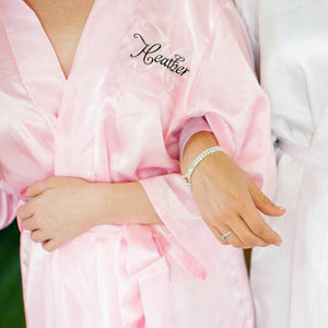 Personalized Satin Robe with Name and Initial on Front