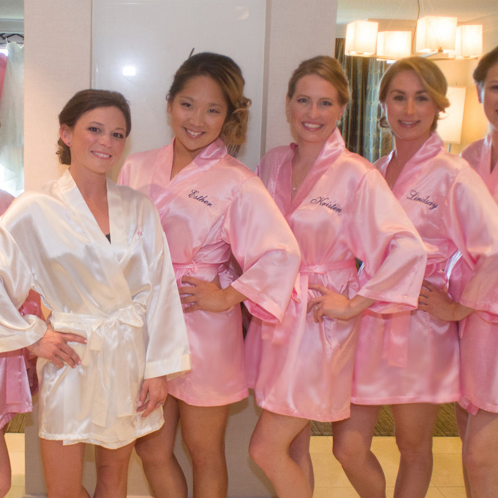 Personalized Satin Robe with Name on Front
