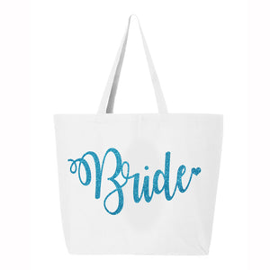Load image into Gallery viewer, Something Blue, Bride Tote Bag, The Bride's Bag, The Bride Bag, Bride Glitter Tote Bag