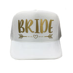 Bride Hat, Trucker Hat, Arrow and Heart, Bride Baseball Hat, Wedding Hat, Bachelorette Party Hats