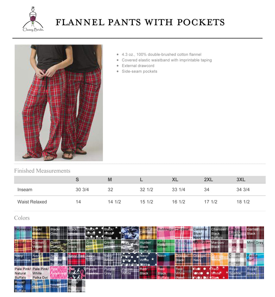 Classy Bride Flannel Pants, Personalized Flannel Pants