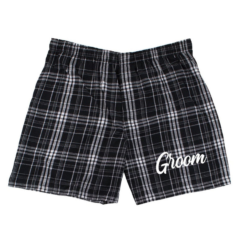 Load image into Gallery viewer, Groom Boxers, Flannel Groom Underwear, Groom Underwear