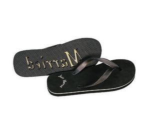 Just Married Flip Flops - For Him