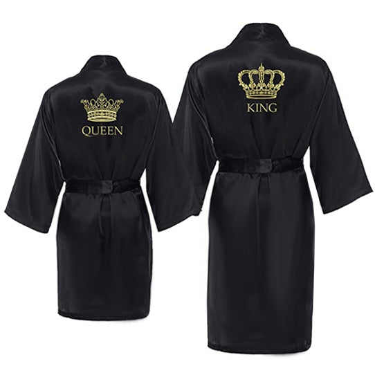 Load image into Gallery viewer, King and Queen Satin Robe Set