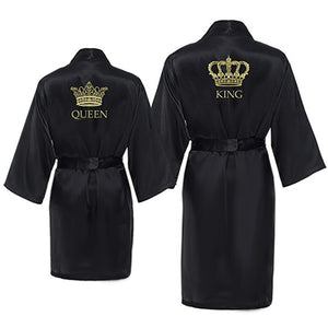 King and Queen Satin Robe Set