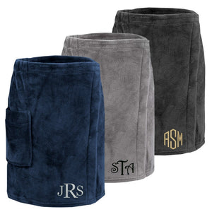 Load image into Gallery viewer, Monogrammed Mens Plush Bath Wrap