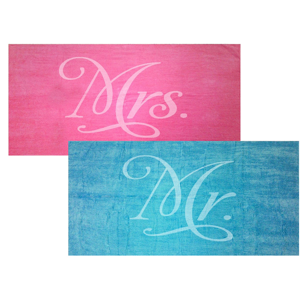 Load image into Gallery viewer, Mr. and Mrs. Towel Set - Turquoise and Fuchsia