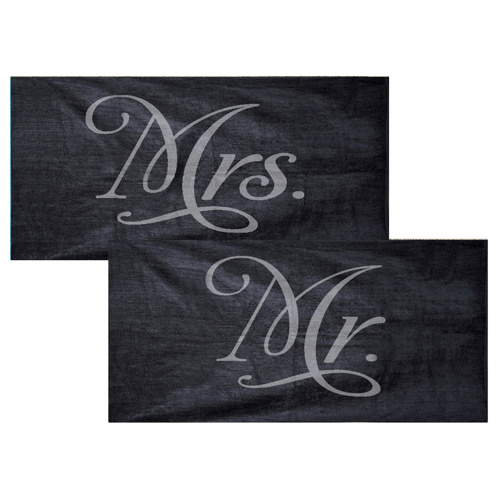 Mr. and Mrs. Towel Set - Black
