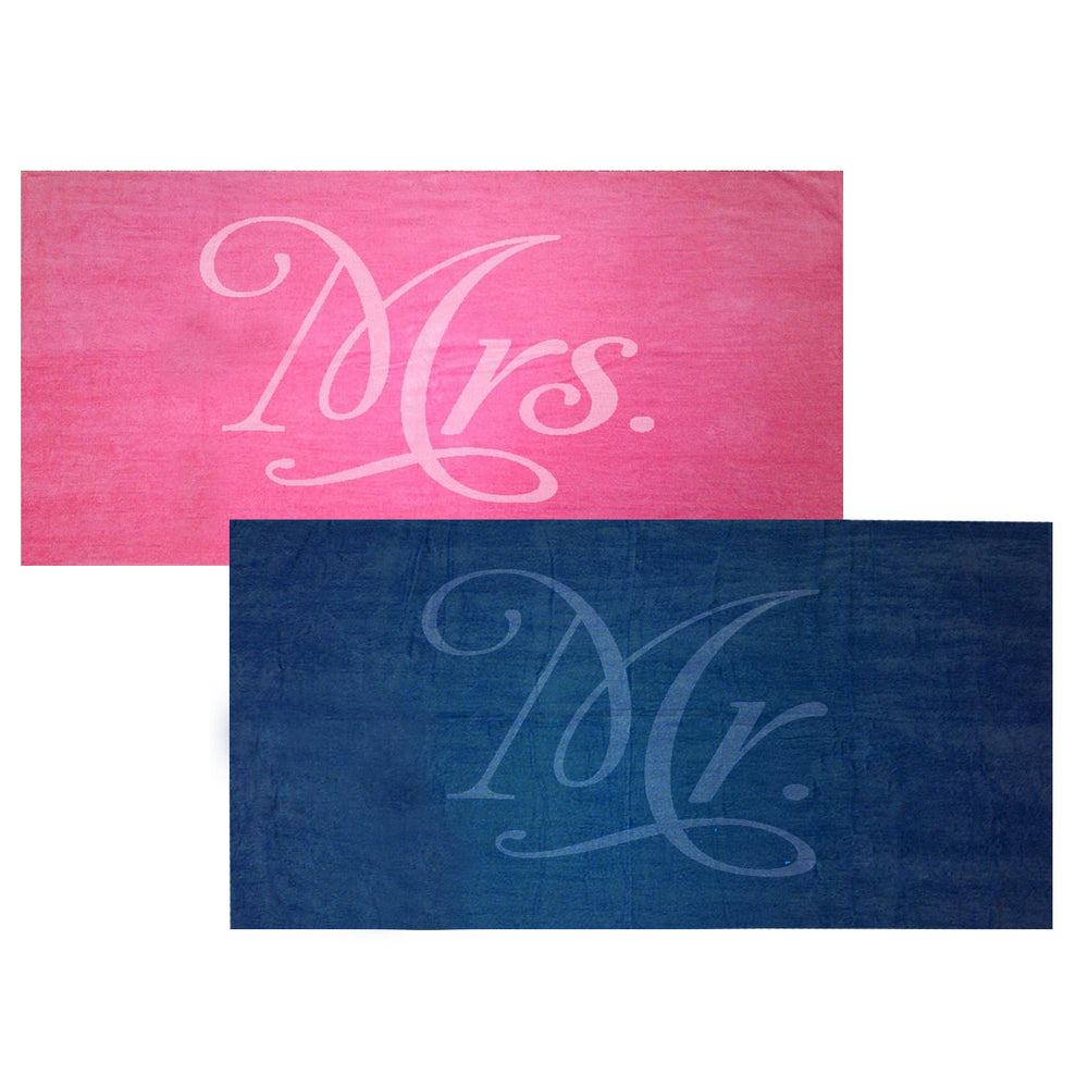 Mr. and Mrs. Towel Set - Fuchsia and Navy