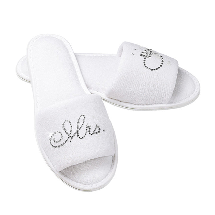 Mrs. Bridal Slippers with Rhinestone Mrs. and Diamond Ring