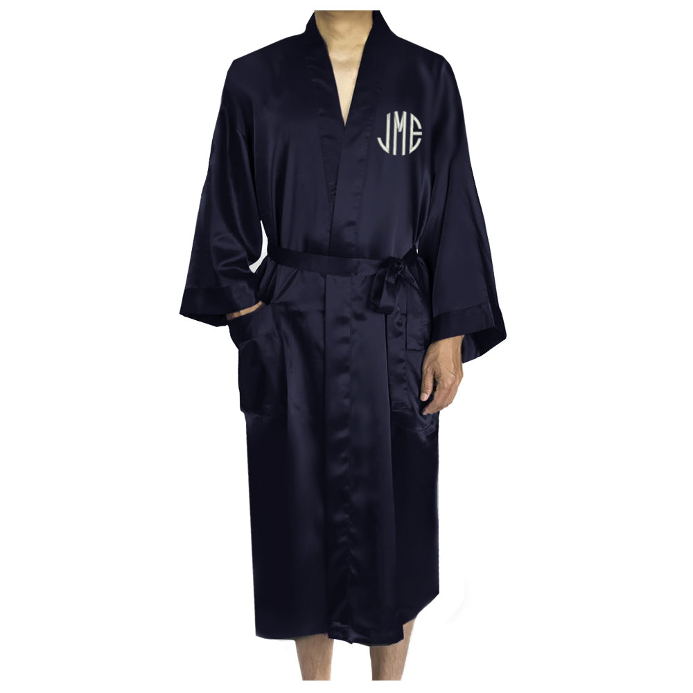 Load image into Gallery viewer, Monogrammed Mens Satin Robe