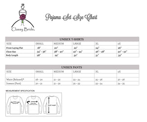 Load image into Gallery viewer, Classy Bride Pajamas, Classy Bride Pajama Size Chart