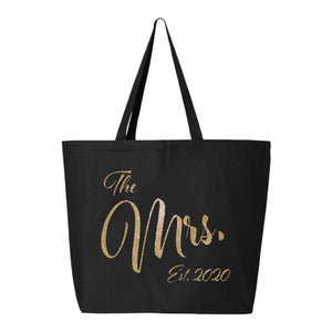 The Mrs. Est. 2020 Glitter Tote Bag