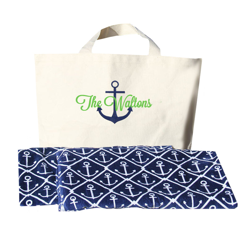 Personalized Anchor Beach Bag and Towel Set