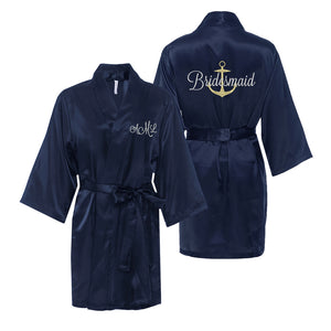 Personalized Anchor Satin Robe with Title on Back