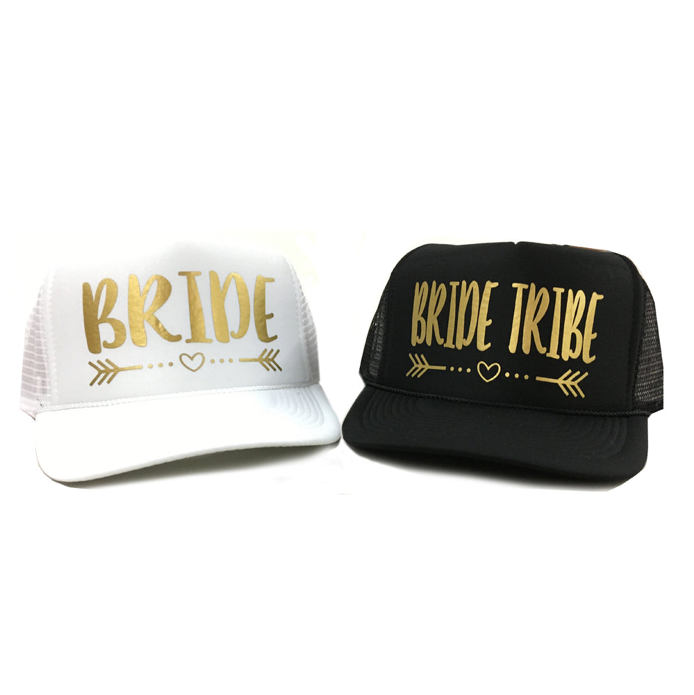 Load image into Gallery viewer, BRIDE TRIBE with Heart and Arrow Trucker Hat