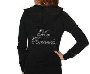 Load image into Gallery viewer, Personalized Rhinestone Mrs. Hoodie