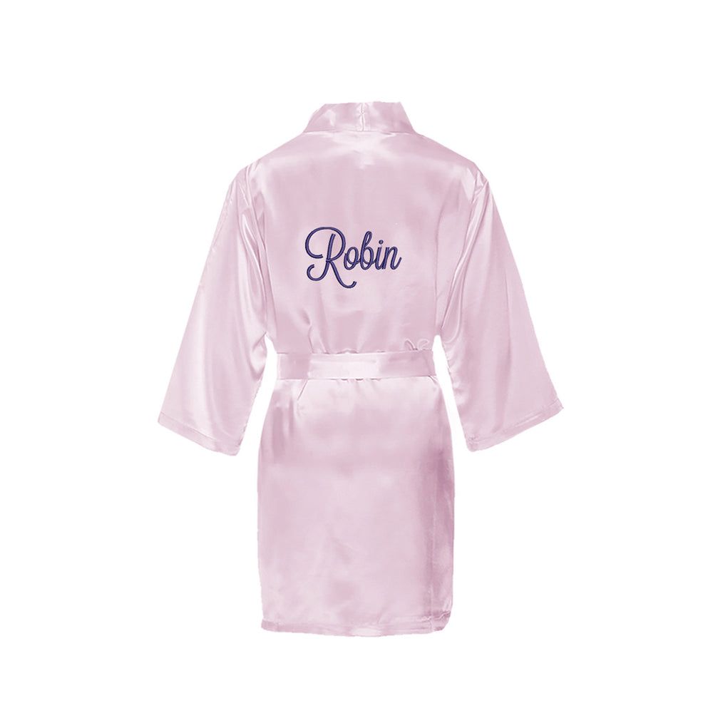 Personalized Satin Girls Robe with Name on Back