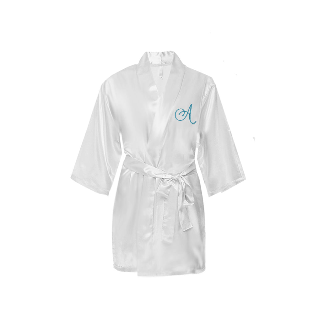 Monogrammed Satin Girls Robe
