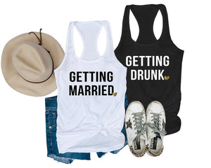 Load image into Gallery viewer, Getting Married & Getting Drunk  Bachelorette Party Tanks