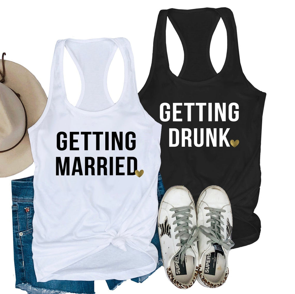 Load image into Gallery viewer, getting married getting drunk tank tops, bachelorette party shirts