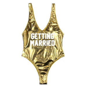 Getting Married High Cut One Piece - Metallic Gold