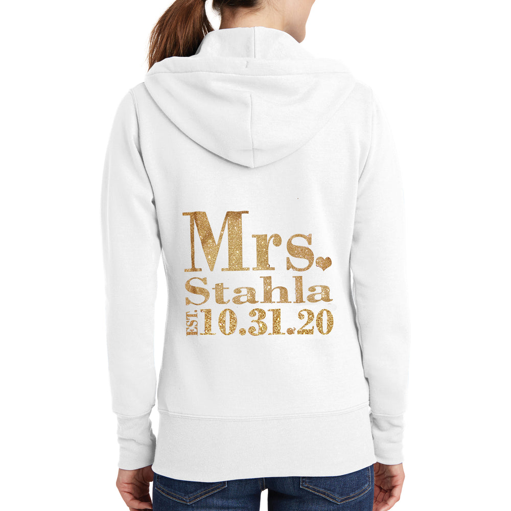 Personalized Mrs. Glitter Bride Hoodie