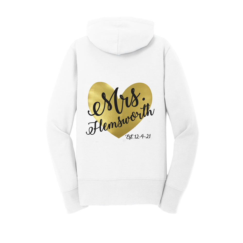 Personalized Mrs. Heart Hoodie with Wedding Date