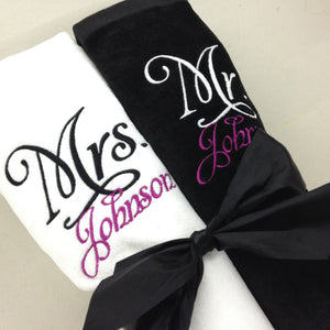 Personalized Mr. and Mrs. Beach Towel Set