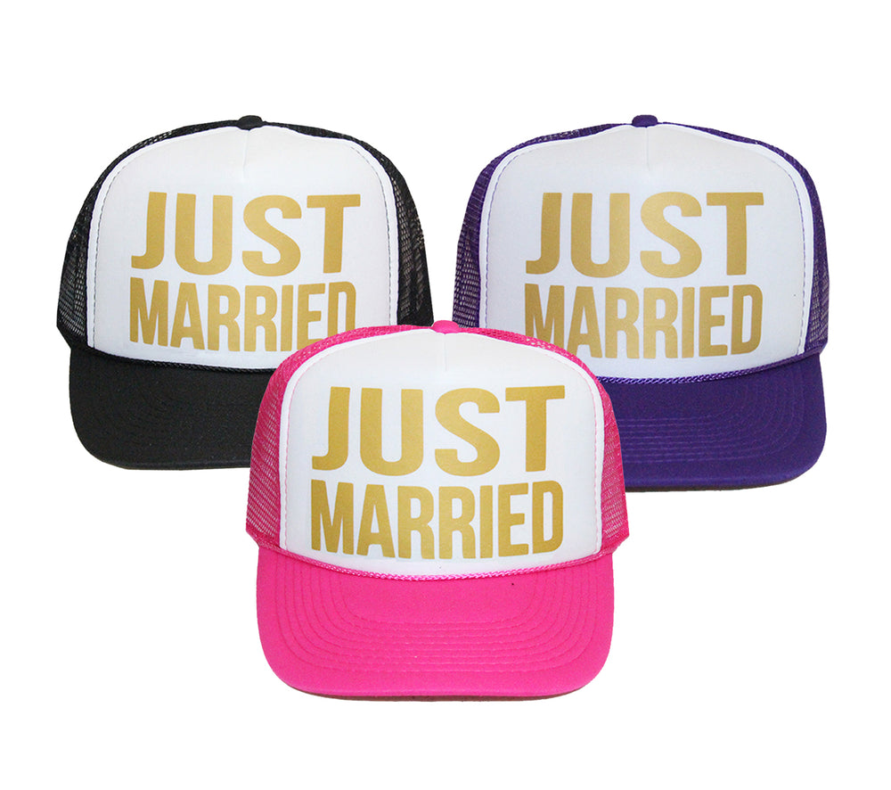 JUST MARRIED Hat, Honeymoon Hat, Just Married Trucker Hat, Bride Hat