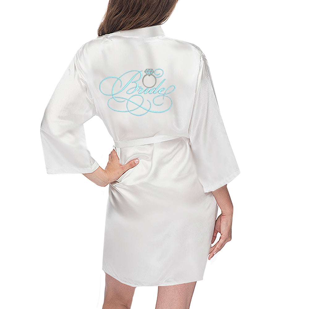 Load image into Gallery viewer, Bridal Satin Robe with Wedding Ring - KNEE LENGTH