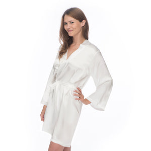 Bridal Satin Robe with Wedding Ring - KNEE LENGTH