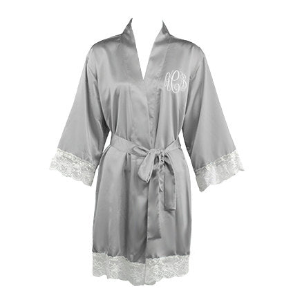 Monogrammed Satin Bridal Robe with Lace
