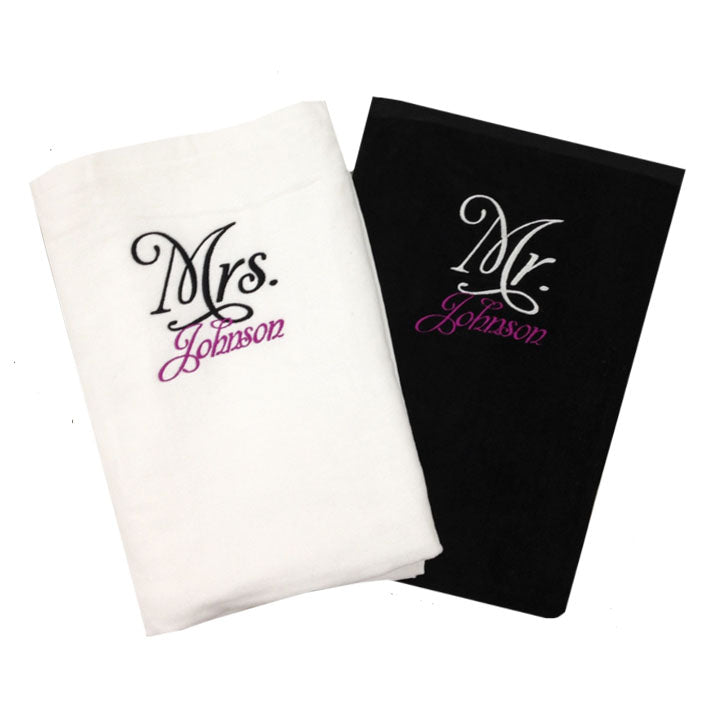 Personalized Mr. and Mrs. Beach Towel Set, Mr. and Mrs. Towels, Honeymoon Gift