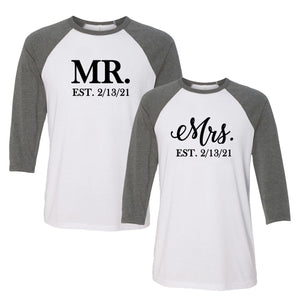 Personalized Mr. and Mrs. Raglan T-Shirt Set
